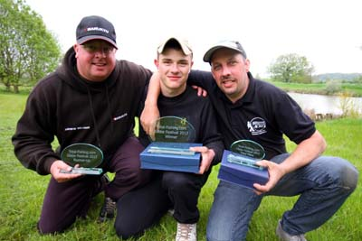 The top three from the 2012 Total-Fishing.com Glebe Festival; from the left Andy Williams (2nd); Jarrad Smith (1st); Kev Sims (3rd).