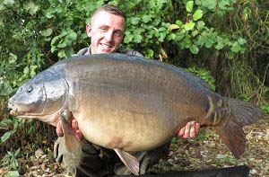 Billy Flowers with a 38lb mirror carp