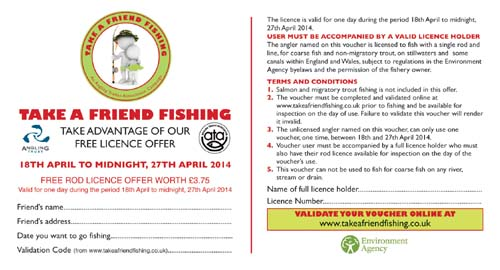 Take A Friend Fishing 2014 voucher