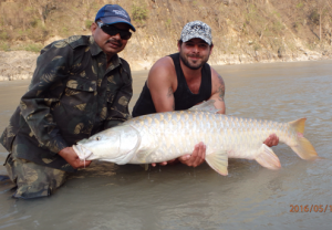 Chris with one of the biggest Indian mahseer caught for years.