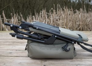 The chair can be strapped to the ruckbag for ease of carriage on the Korum Roving Kit.
