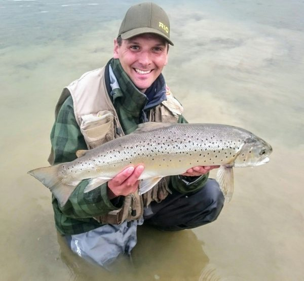 David Hoppe with a 9lb Pitsford Reservoir brown trout caught from sailing club bank on a buzzer