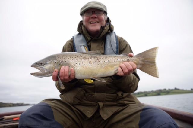 Simon Ashton with a 6lb 6oz brown trout from Rutland Water.