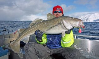 Dave Barham with a big Norwegian cod.