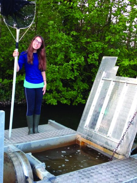 Olivia Simmons, a PhD student from Bournemouth University, is studying juvenile salmon size and behaviour on their seaward migration and subsequent sea survival.